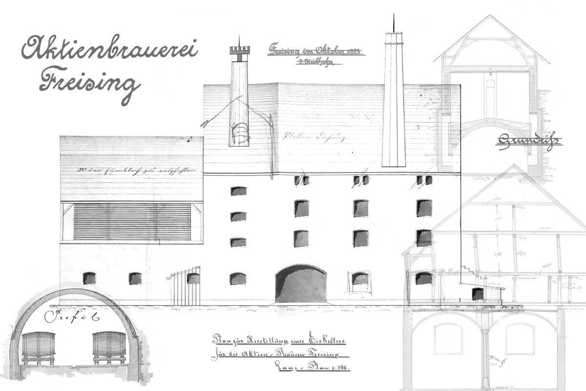 3BAU-Alte-Brauerei-Freising-historische-Plaene-Aktienbrauerei
