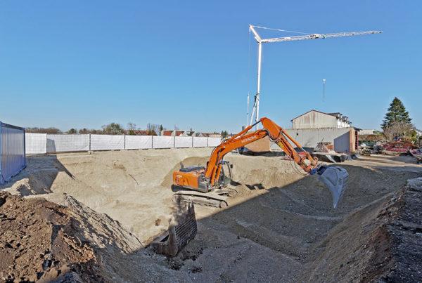 Baustellenansicht Erdarbeiten Gleißnerstraße