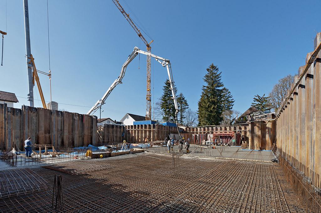 Baustellenansicht Bodenplatte Hallstaetter Straße